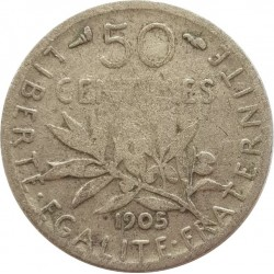 FRANCE 50 CENTIMES ROTY 1905 TB-