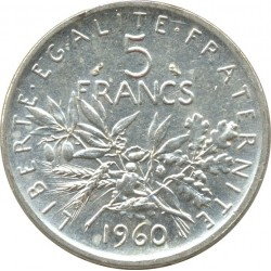 FRANCE 5 FRANCS ROTY 1960 SUP/NC
