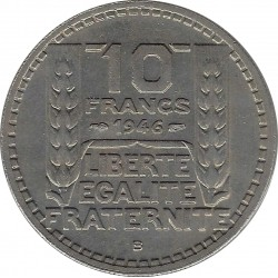 FRANCE 10 FRANCS TURIN 1946 B RAMEAUX COURTS SUP-