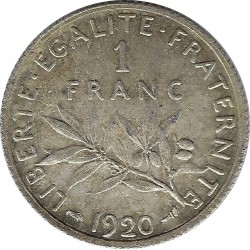 FRANCE 1 FRANC SEMEUSE ROTY ARGENT 1920 SUP