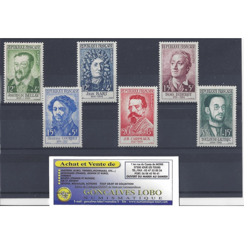 YVERT 1166 a 1171 CELEBRITES 1958 Serie 6 Timbres NEUF