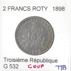 2 FRANCS ROTY 1898 TTB coup