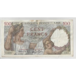 FRANCE 100 FRANCS SERIE N 5629 SULLY 21 12 1939 TB+