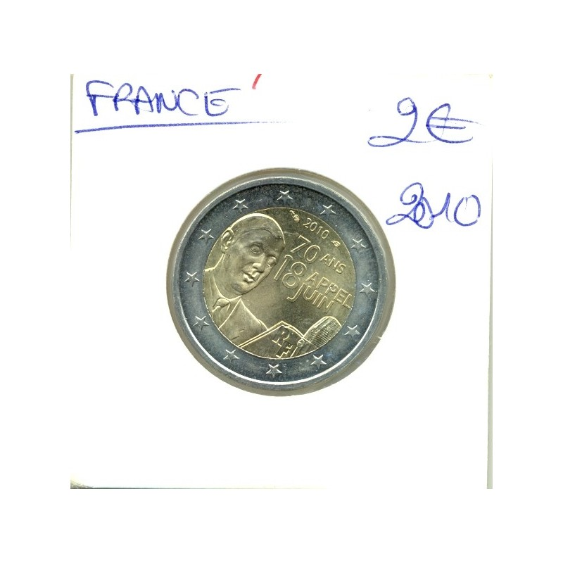 France 2010 2 EURO COMMEMORATIVE CHARLES DE GAULLE SUP