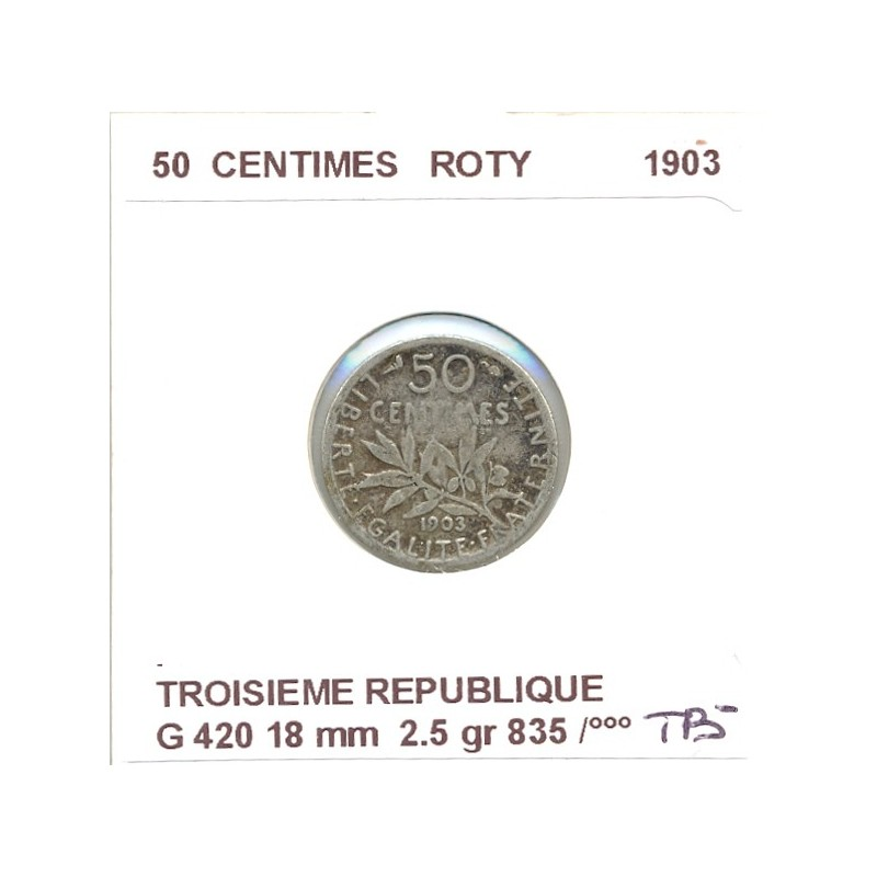 50 CENTIMES ROTY 1903 B+