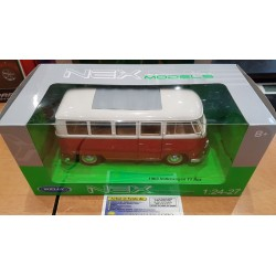 VOLKSWAGEN T1 BUS ROUGE ET CREME WELLY NEX 1/24 1:24 Réf: 29370W