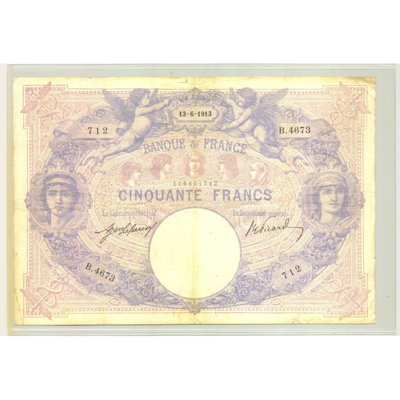 FRANCE 50 FRANCS SERIE B.4673 BLEU ET ROSE 13 06 1913 TB+