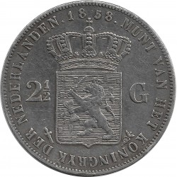 HOLLANDE 2 1/2 GULDEN 1858 TTB
