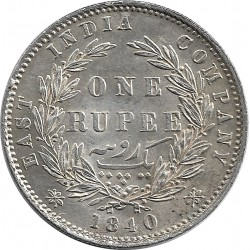 INDE ANGLAISE ONE RUPEE VICTORIA 1840 SUP-