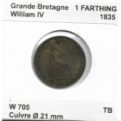 GRANDE BRETAGNE 1 FARTHING WILLIAM IV 1835 TB