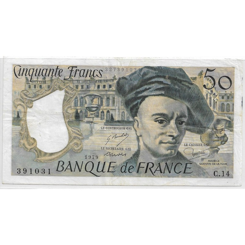 FRANCE 50 FRANCS QUENTIN DELATOUR 1979 C.14 TTB+
