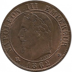 FRANCE 1 CENTIME NAPOLEON III 1862 A  SUP/NC
