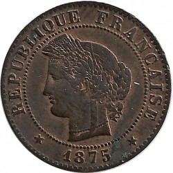 FRANCE 1 CENTIME CERES 1875 K SUP