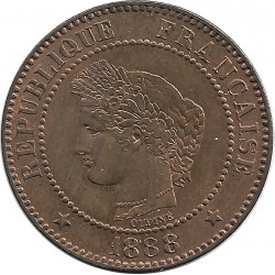 FRANCE 2 CENTIMES CERES 1888 A SUP+