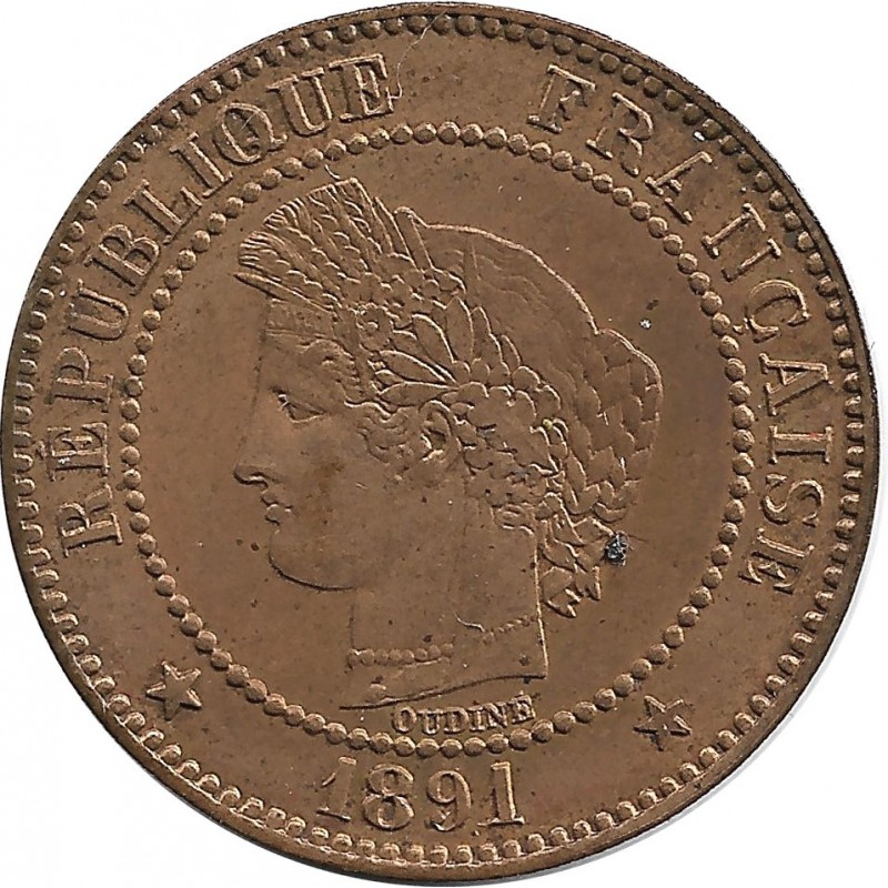 FRANCE 2 CENTIMES CERES 1891 A SUP/NC