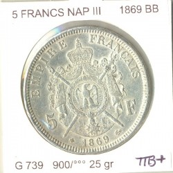 FRANCE 5 FRANCS NAPOLEON III 1869 BB TTB+