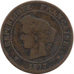 FRANCE 5 CENTIMES CERES 1877 A TB