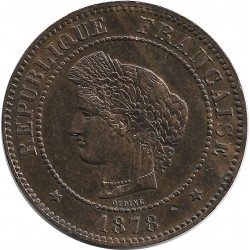 FRANCE 5 CENTIMES CERES 1878 A SUP coup