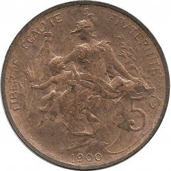 FRANCE 5 CENTIMES DUPUIS 1900 SUP