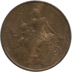FRANCE 5 CENTIMES DUPUIS 1902 SUP