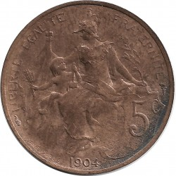 FRANCE 5 CENTIMES DUPUIS 1904 SUP-