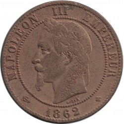 FRANCE 10 CENTIMES NAPOLEON III TETE LAUREE 1862 BB TB