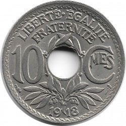 FRANCE 10 CENTIMES LINDAUER 1918 SUP-