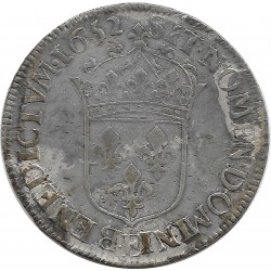 LOUIS XIV (1643-1715) 1/2 ECU MECHE LONGUE 1652 E (TOURS) 13gr56 TTB