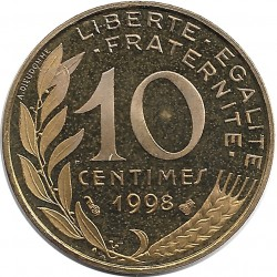 FRANCE 10 CENTIMES LAGRIFFOUL 1998 BE