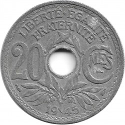 FRANCE 20 CENTIMES LINDAUER 1945 TB