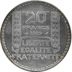 FRANCE 20 FRANCS TURIN 1929 SUP