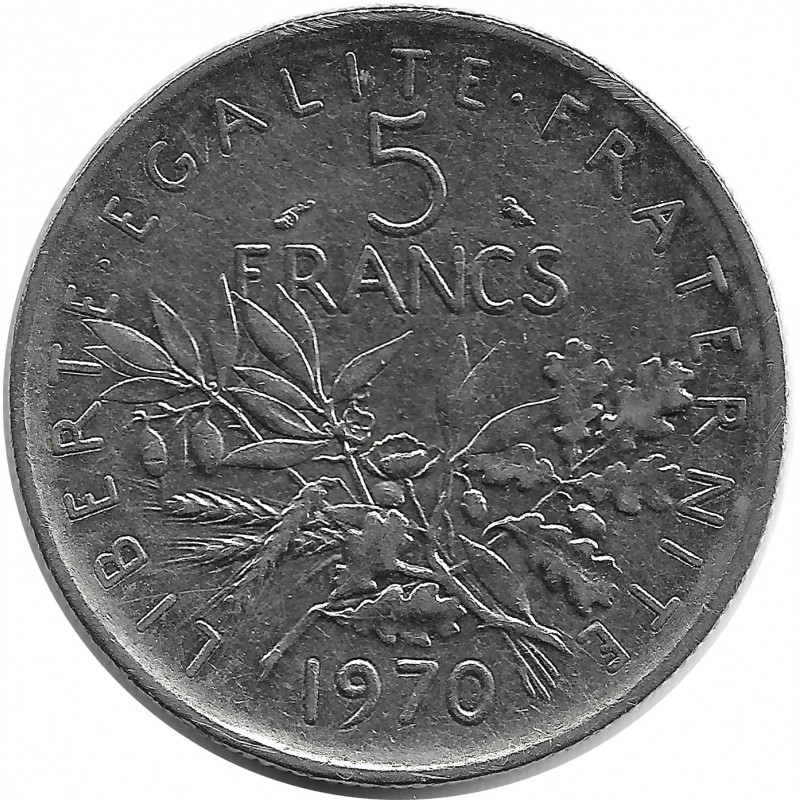 FRANCE 5 FRANCS ROTY 1970 SUP