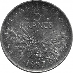 FRANCE 5 FRANCS ROTY 1987 SUP