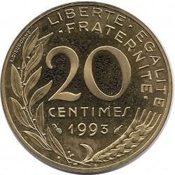 FRANCE 20 CENTIMES LAGRIFFOUL 1993 BE