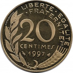 FRANCE 20 CENTIMES LAGRIFFOUL 1997 BE
