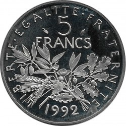 FRANCE 5 FRANCS ROTY 1992 BE