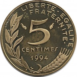 FRANCE 5 CENTIMES LAGRIFFOUL 1994 BE