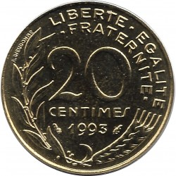 FRANCE 20 CENTIMES LAGRIFFOUL 1993 FRAPPE MEDAILLE BU