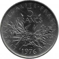 FRANCE 5 FRANCS ROTY 1976 SUP/NC
