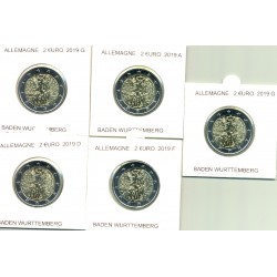 ALLEMAGNE 2019 5 ATELIERS A.D.F.G.J 2 EURO COMMEMORATIVE BADEN WURTTEMBERG  SUP
