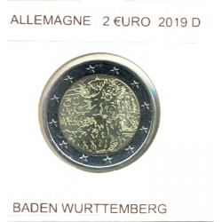 ALLEMAGNE 2019 D  2 EURO COMMEMORATIVE BADEN WURTTEMBERG SUP