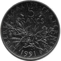 FRANCE 5 FRANCS ROTY 1991 SUP