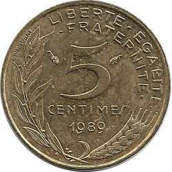 FRANCE 5 CENTIMES LAGRIFFOUL 1989 SUP-