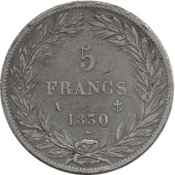 FRANCE 5 FRANCS LOUIS-PHILIPPE 1830 A TRANCHE EN RELIEF TTB-