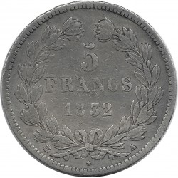 FRANCE 5 FRANCS LOUIS-PHILIPPE I 1832 A TRANCHE EN RELIEF TB