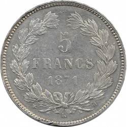 FRANCE 5 FRANCS CERES 1871 K (Bordeaux) TTB