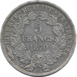 FRANCE 5 FRANCS CERES 1870 A (Paris) TTB