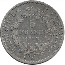 FRANCE 5 FRANCS HERCULES DUPRE 1873 A (Paris) TB+