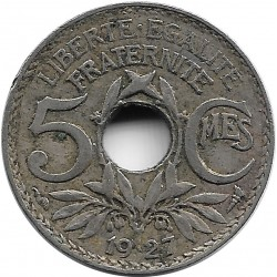 FRANCE 5 CENTIMES LINDAUER 1927 TB