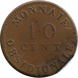 FRANCE 10 CENTIMES OBSIDIONALE 1814 TTB-